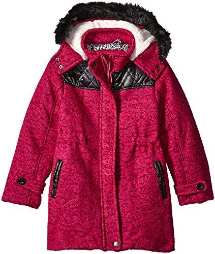 Fur Trim Tweed - Ok Kids Little Girls' Tweed Coat with Faux Fur Trim, Cranberry, 6X