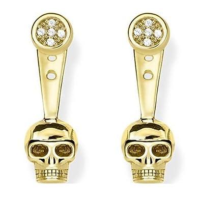 d8c617649 Thomas Sabo Ear Jackets Skull Gold Plated Yellow Gold/White Diamond Stud  Earrings: Amazon.co.uk: Jewellery