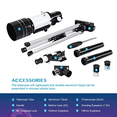 Aomekie 70mm Telescope for Astronomy Beginners and Kids Adults Travel Scope Refractor Telescopes with Tripod 5X24 Finderscope 3X Barlow Lens