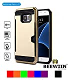 BEEWIIN Metal Brushed Series Hybrid Dual Layer Card Slot Case for Samsung Galaxy S7 (Gold)