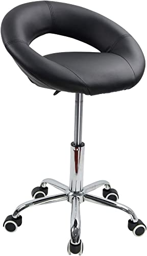 KKTONER Low Back Swivel Rolling Stool Height Adjustable Modern Semi-Circular Seat Office Computer Desk Chair
