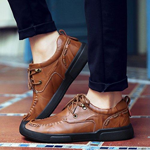 Chaussures En Cuir Oxford Pour Les Hommes, Jions Occasionnels Chaussures À Lacets Robe Slip On Appartements Mocassins Chaussures Bateau Classique C Brun