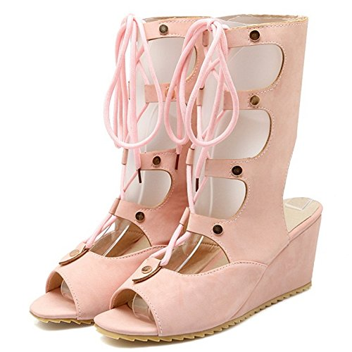 COOLCEPT Women Fashion Lace Up Sandals Open Toe Wedge Heel Slingback Shoes With Zip Pink fAaTIs4
