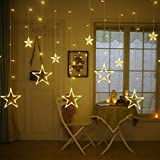 Amazon Price History for:Twinkle Star 12 Stars 138 LED Curtain String Lights, Window Curtain Lights with 8 Flashing Modes Decoration for Wedding, Party, Home, Patio Lawn, Warm White