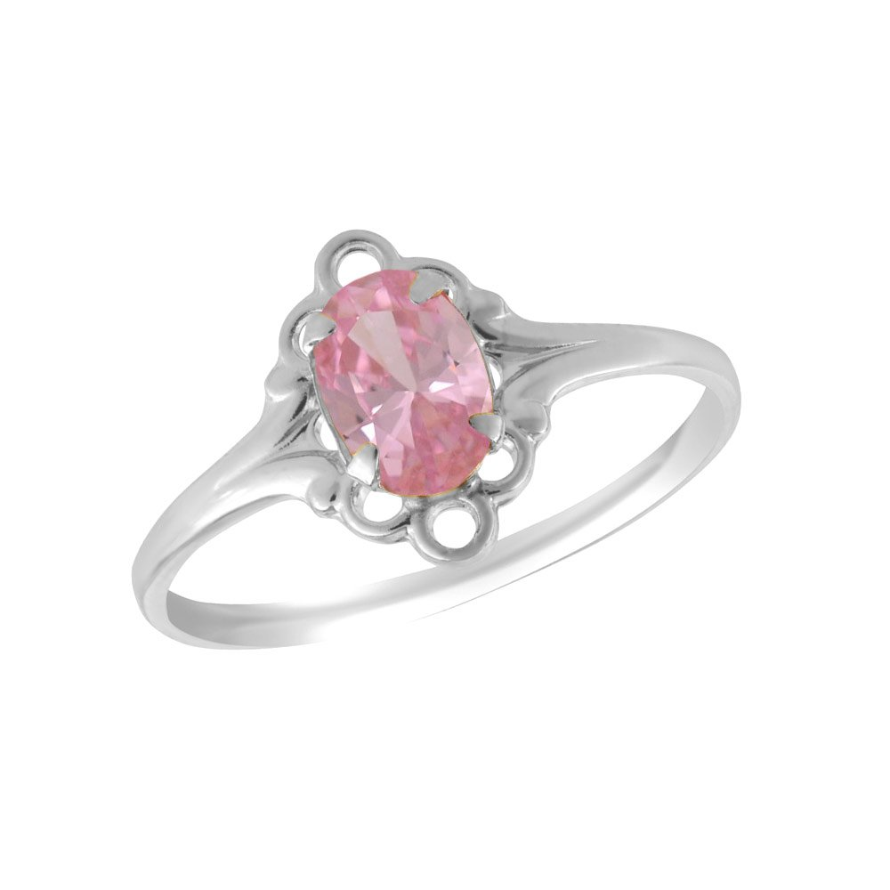 Sterling Silver Oval Shape Simulated October Birthstone Ring For Girls (size 4)