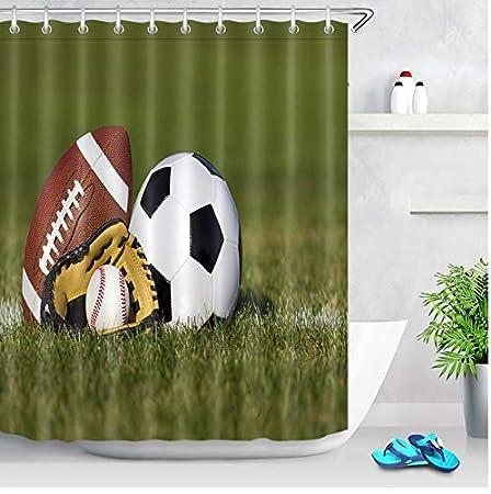 LMXYF Cortinas De Ducha Balón De Fútbol Fútbol Americano Guante De ...