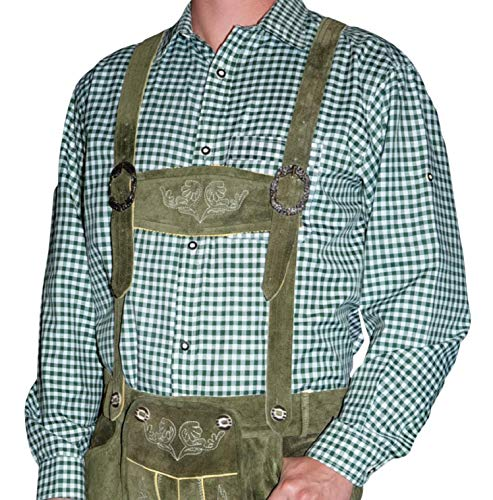 Dirndl Trachten Haus German Green Lederhosen Button Down Longsleeve/Shortsleeve Shirt