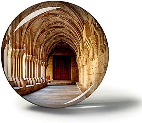 Hqiyaols Souvenir España Cataluña Monasterio Románico Imanes Nevera Refrigerador Imán Recuerdo Coleccionables Viaje Regalo Circulo Cristal 1.9 Inches: Amazon.es: Hogar