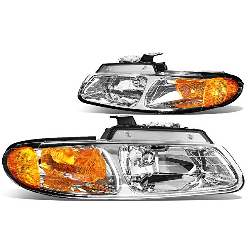 (Pair Chrome Housing Amber Corner Headlight for Dodge Caravan Chrysler Town & Country Plymouth Voyager 96 97 98 99)