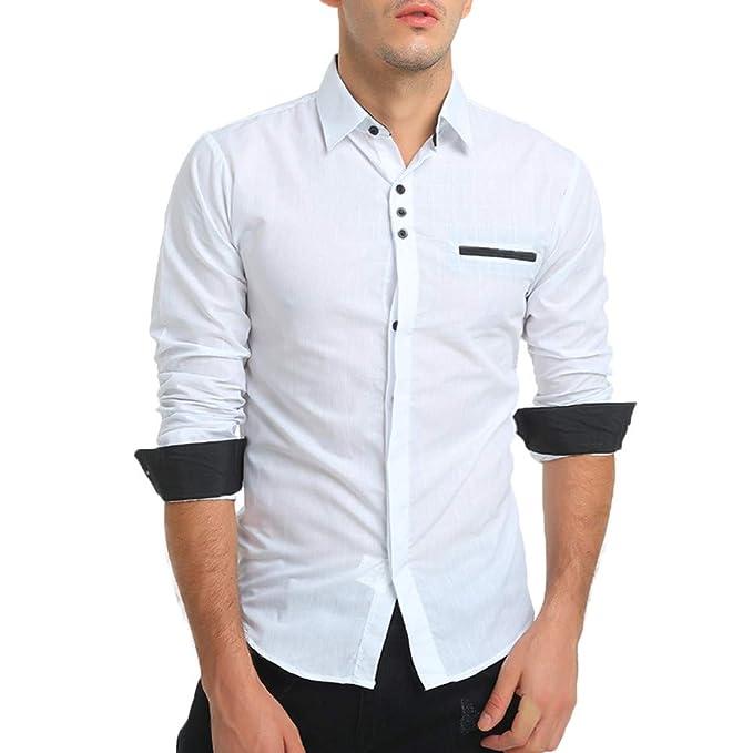 0c9335df94de0 YanHoo Camisa de Vestir de Manga Larga con Cuello en V Formal de algodón Casual  para Hombre Otoño e Invierno de 2018 Nuevo Moda Casual  Amazon.es  Ropa y  ...