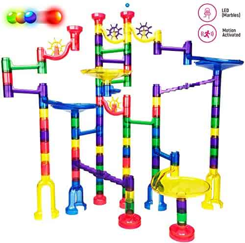 Thinkbox Toys Marble Race Game - Premium LED Marbles Light Up This Marble Run Set for Kids - BPA Free STEM Toy for Boys and Girls Makes Learning Exciting - A Great Educational Building Block Gift