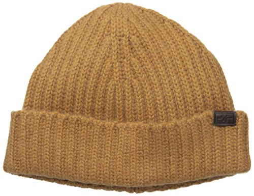 Hickey Freeman Men's Full Cardigan Stitch Cuffed Hat, Vicuna, One Size (Cashmere Vicuna)