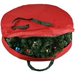 "Elf Stor Supreme Canvas Holiday Christmas Wreath Storage Bag For 30"" Wreaths"