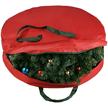 elf stor supreme canvas holiday christmas wreath storage bag for 30 wreaths