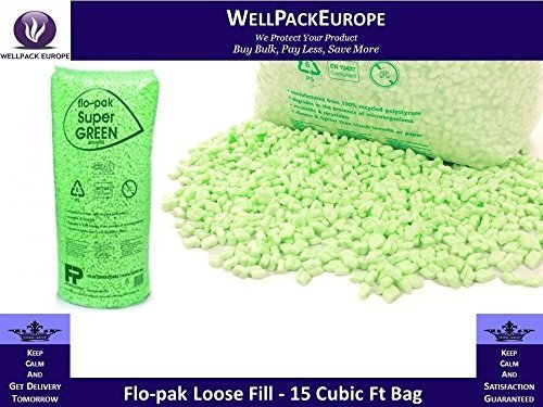 LOOSE FILL / VOID FILL POLYSTYRENE POLY PACKAGING PACKING PEANUT CHIPS - ECO FLOPAK GREEN 15 CUBIC FT BAG (BIODEGRADABLE) *** NEXT DAY UK DELIVERY *** VISIT Our Exciting  Packaging Catalogue - Search > Wellpack Europe