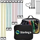 Bungee Cord Tie Down Straps Assortment (Set of 24 Cords) W/ Carrying Case by Starling's|100% Latex- Elastic, Heavy Duty Pull Ropes for Motorcycle, Truck, Car, Trailer, Camper |W/Bungee Ball-Canopy Tie