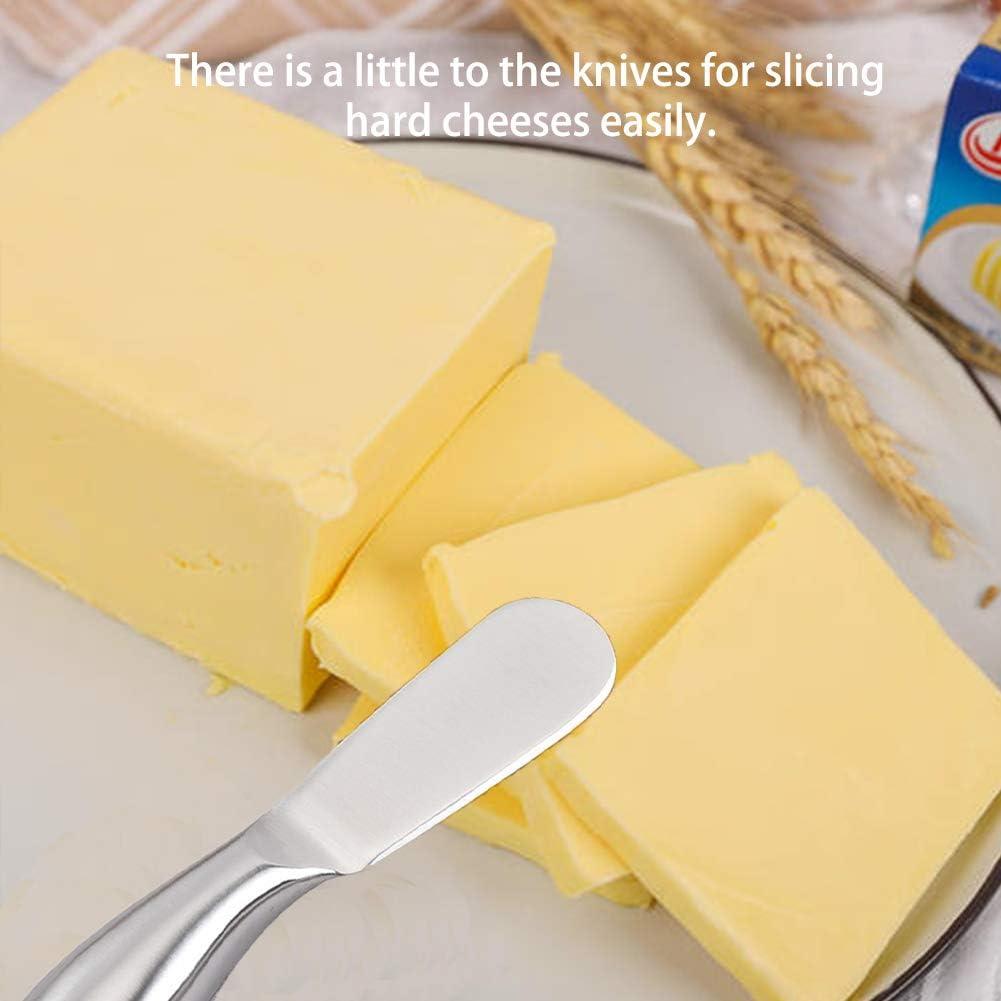 color plateado 2PCS Cuchillo de mantequilla,Esparcidor de Queso y Mantequilla de hoja de acero inoxidable con mango ergon/ómico pulido con espejo ideal para el hogar de la cocina