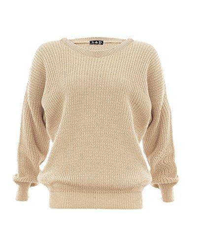 Style Divaa® - Jersey de punto para mujer Beige