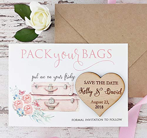 Suitcase Save The Date Card, Destination Wedding Save The Date, Rustic Save The Date Card, Wood Save The Date, Rustic Magnet Set of 20 -