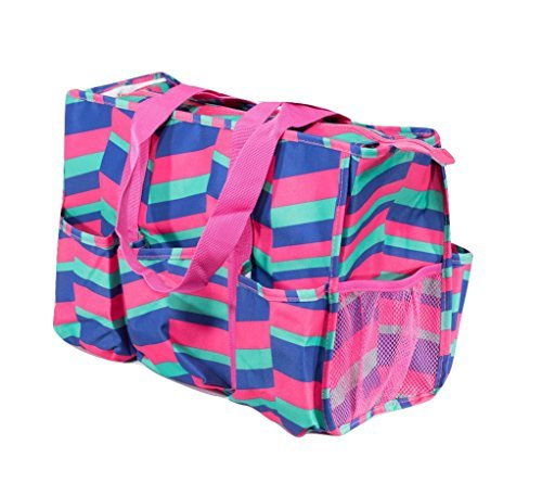 7 Pocket Tote Bag With Zipper  Pink  Blue  Green Zig Zag