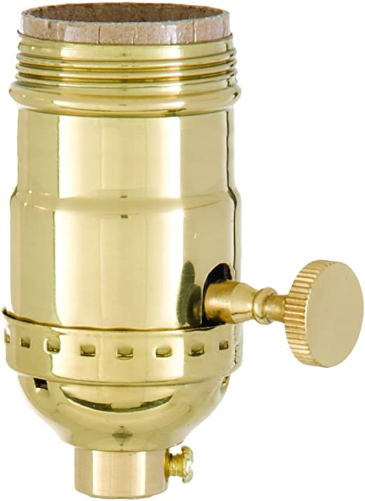B/&P Lamp® 3-Way Heavy Duty Turned Brass Socket Antique Brass Finish