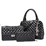 Symbolove Modern Designer 3-Piece Leather Top Handbags Tote Purse Satchel Shoulder Bag for Women