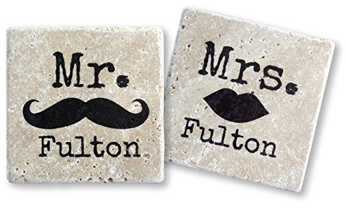 Mr & Mrs Mustache & Lips Personalized Tumbled Travertine Coasters - Set of 4 (2 each design)