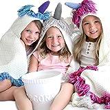 Born To Unicorn Majestic & Wearable Hooded Unicorn Throw Blanket with Horn & Fringe | Child Sizes |...
