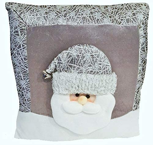 Holiday Sparkle 14 inch Silver Snowman Santa Decorative Throw Pillows Set of 2