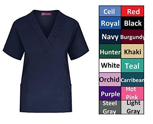 Women's Solid Scrub Tops Plus Sizes XS S M L XL 2X 3X 4X 5X (L, White) 2 X Scrubs