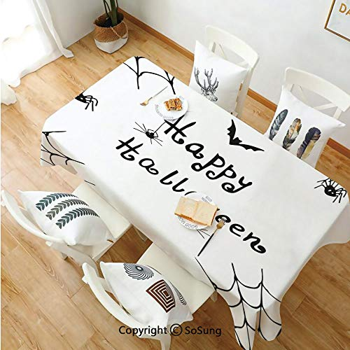 Spider Web Rectangle Polyester Tablecloth,Happy Halloween Celebration Monochrome Hand Drawn Style Creepy Doodle Artwork,Dining Room Kitchen Rectangle Table Cover,54W X 90L inches,Black White]()