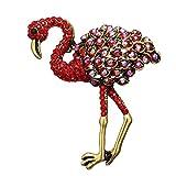 Dwcly Vintage Red Rhinestone Crystal Ostrich Bird Brooch Flamingo Lapel Collar Pin