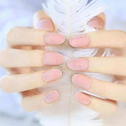 24 uñas postizas de color crema mate con pegamento, diseño de uñas postizas