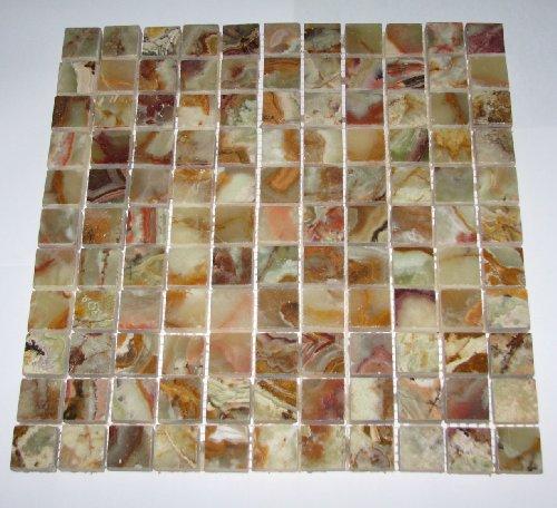 Multi GREEN Onyx 1x1 Polished Mosaics Meshed on 12