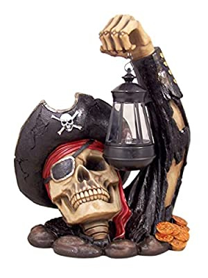 Captain Bone's Pirate Solar Lantern Outdoor Statue Decoration, 13 Inch