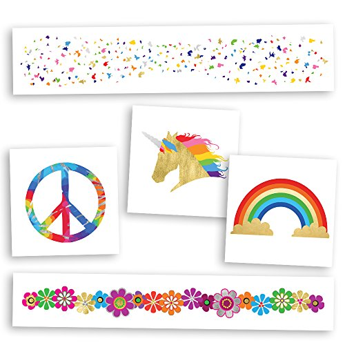 GROOVY VARIETY SET includes 25 assorted premium waterproof rainbow, metallic gold & silver jewelry hippie temporary foil party tattoos - party supplies, hippie, festival, face sparkle