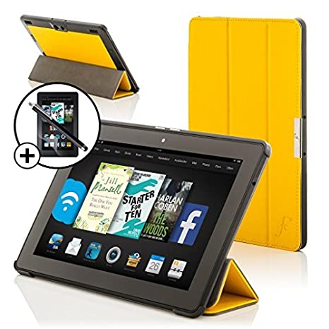 Premium SLIM Flip Case With Magnetic Sleep Sensor & Screen ALL Model Versions - 16GB, 32GB & 64GB Wi-Fi + 4G LTE PURPLE Multi-Function Leather SMART FOLIO Front & Back Case New  Kindle Fire HDX 8.9 inch 8.9 2013 Smart Cover Typing & Viewing Stand