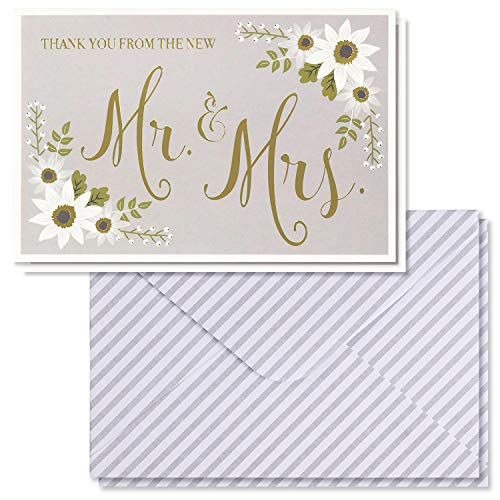 Wedding Thank You Cards - 48-Pack Gold Foil Thank You from the New Mr. and Mrs. Greeting Card, Bulk Thank You Note Cards and Envelopes Stationery Set, Floral Design, 4 x 6 Inches]()