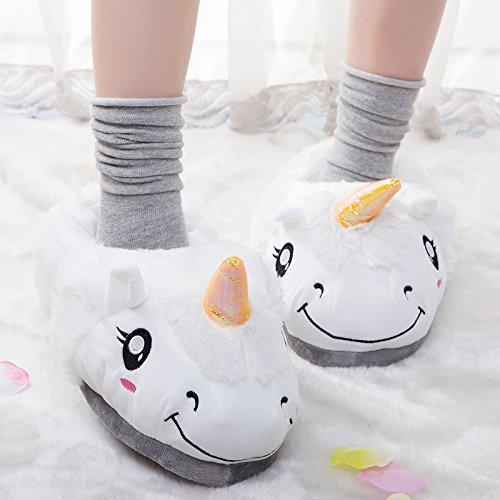 Aiigou Volwassen Warme Pluche Eenhoorn Pantoffels Leuke Cartoon Binnenschoenen Wit