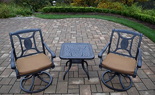 Oakland Living 3 Piece Victoria Aluminum Swivel Rocker Set, Aged - Victoria Rocker Swivel Chair