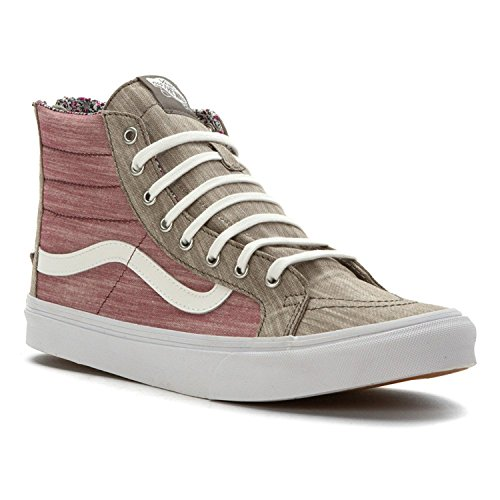Vans Women Sk8-Hi Slim Zip – Floral Chambray (gray / true white)