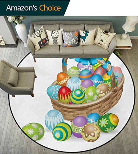 RUGSMAT Easter Computer Chair Floor Mat,Basket of Colorful Ornamental Eggs with A Blue Ribbon Spring Season Easter Holiday Printed Round Carpet for Children Bedroom Play Tent,Diameter-24 Inch