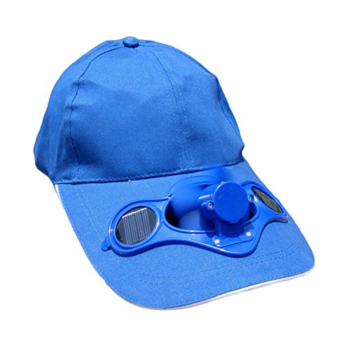 or Solar Sun Power Hat Cap Cooling Cool Fan for Golf Baseball Sport (Blue) ()