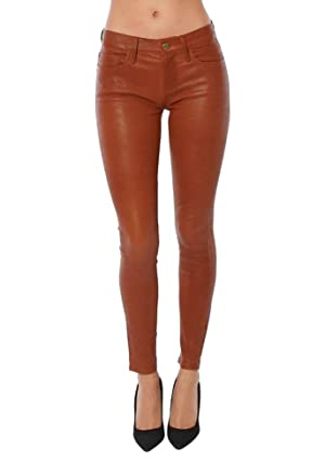 FRAME Denim Leather Le Skinny De Jeanne, Cognac, 26