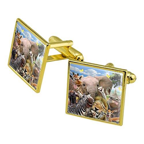 Graphics and More Africa Animals Selfie Giraffe Elephant Lion Zebra Square Cufflink Set Gold Color