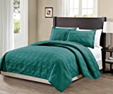 quilted bedcover - Mk Collection 3pc King/California King Modern Geometric Bedspread Bed-cover Quilted Embroidery Solid Turquoise Over Size 118