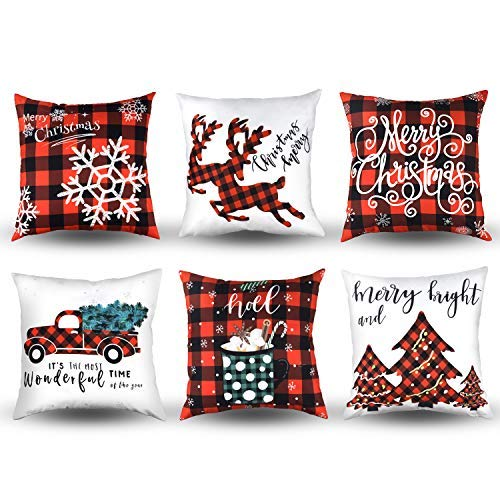 MENOLY 6 PCS Christmas Throw Pillow Cover Pillow Cases Cushion Couch Covers 18 x 18 Inch Buffalo Plaid Snowflake Merry Christmas Deer Christmas Tree Throw Pillow Case for Christmas Decorations