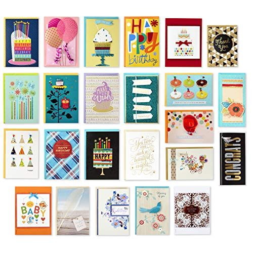 Greetings Box - Hallmark Handmade All Occasion Boxed Greeting Card Assortment, Modern Floral (Pack of 24)-Birthday Cards, Baby Shower Cards, Wedding Cards, Sympathy Cards, Thinking of You Cards, Thank You Cards