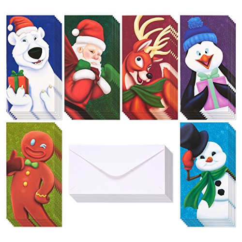 36-Pack Merry Christmas Greeting Cards - Xmas Money and Gift Card Holder Cards in 6 Christmas Character Designs - Bulk Assorted Winter Holiday Cards Box Set with Envelopes Included, 3.6 x 7.25 Inches (Card Santa Holder Gift)