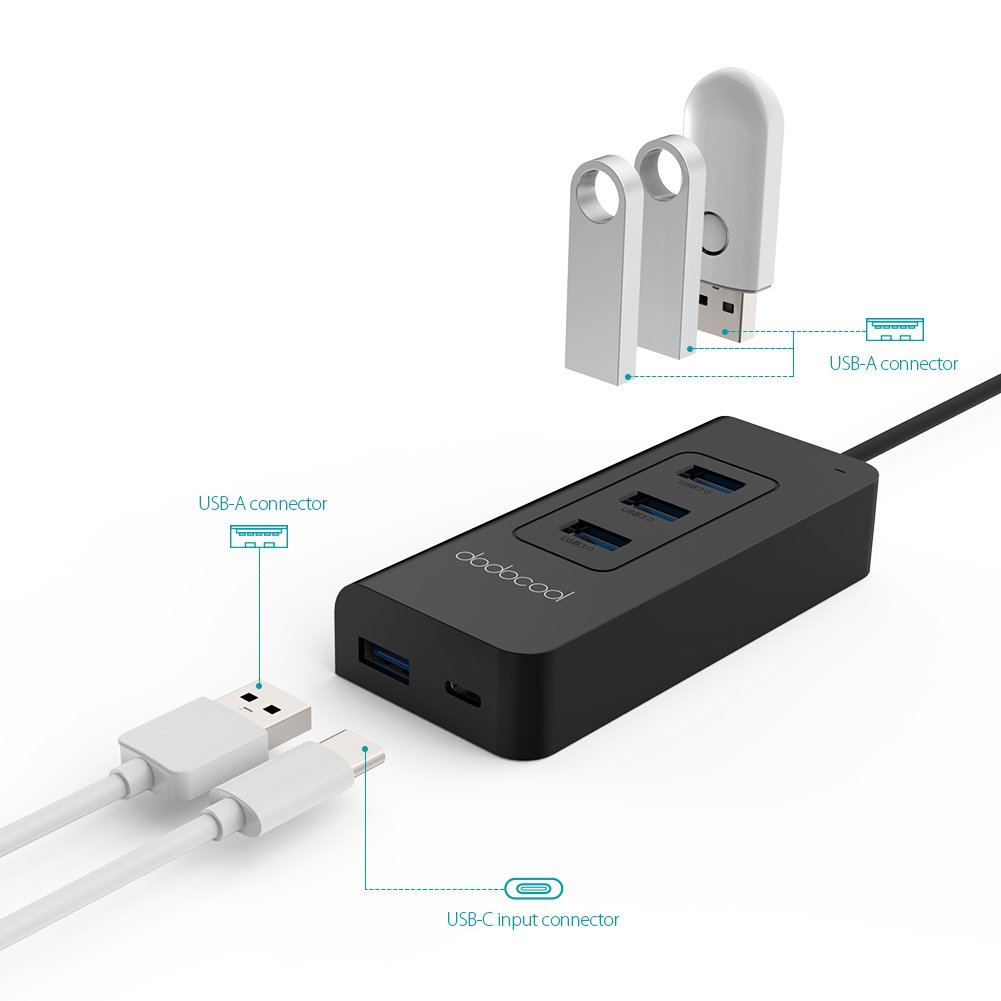 dodocool USB C Hub with 4 USB 3.0 Ports and Type C Port SuperSpeed Power Delivery for Apple New MacBook/Google ChromeBook Pixel by dodocool (Image #3)